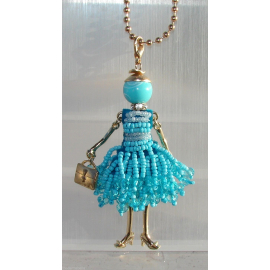 new collection Collana Bambola vestito di perline,necklace doll,da donna celeste