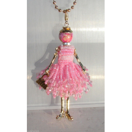new collection Collana Bambola vestito di perline,necklace doll,da donna fucsia