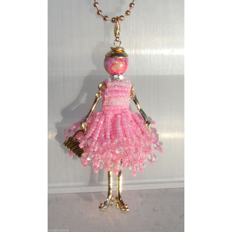 new collection necklace dress beaded doll, doll necklace, fuchsia woman