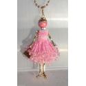 new collection Collana Bambola vestito di perline,necklace doll,da donna rosa