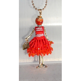 new collection Collana Bambola vestito di perline,necklace doll,da donna rosa