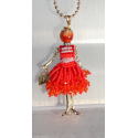 new collection necklace dress beaded doll, doll necklace, red woman