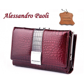 shiny wallet Alessandro Paoli Woman Purse genuine leather 12 cards cards