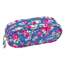 Two zippered pencil case ST.REET FLOWERS TWO school original