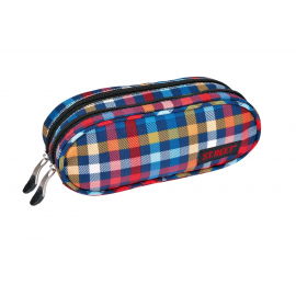 Two zippered pencil case ST.REET CHEQUERED SEVEN school original