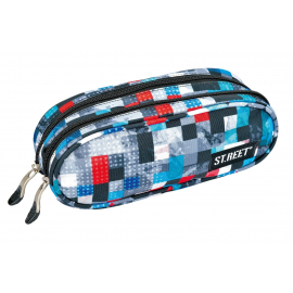 Two zippered pencil case ST.REET CHEQUERED SIX school original