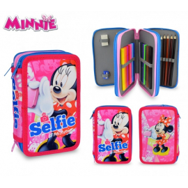 Minnie Mouse Pencil Case 3 zip triple, equipped school