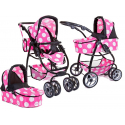 Doris Big Pram Pushchair for Dolls 8 Functions Game Girl Pink Dots Minnie