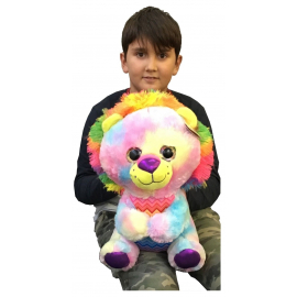 Large Plush Lion Eyes Multicolor Glitter 38cm