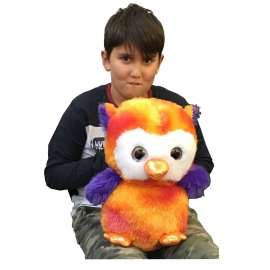 Large Plush Owl Eyes Glitter Multicolor 38cm