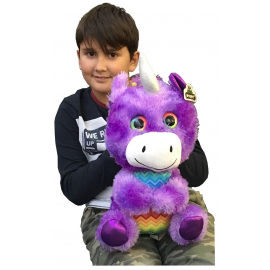 Large Unicorn Plush Multicolored Glitter Eyes 38cm