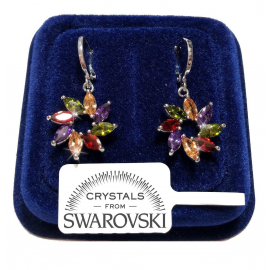 Girandole Women's earrings pl. 18K white gold Swarovski crystals SW7 / 2 m / colo