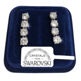 4 woman tennis earrings pl. 18K white gold with SW / 16 Swarovski crystals