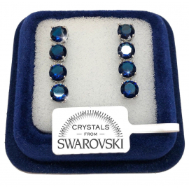 4 woman tennis earrings pl. 18K white gold with SW / 16 blue swarovski crystals