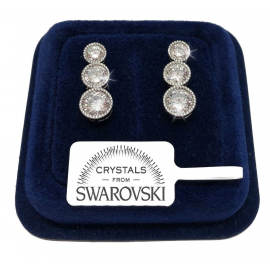 Women's round tennis earrings pl. 18K white gold with SW / 16 Swarovski crystals