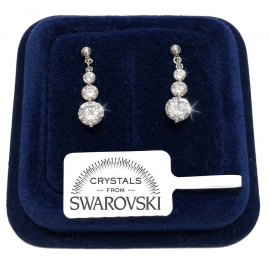 Women's crescent tennis earrings pl. 18K white gold with SW / 16 Swarovski crystals
