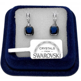 Blue diamond earrings hangs woman pl. 18K white gold with SW / 18 Swarovski crystals