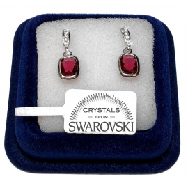 Diamond earrings red pen woman pl. 18K white gold with SW / 18 Swarovski crystals
