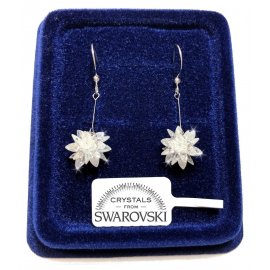 Women's Snowflake Earrings pl. 18K white gold with SW / 19 Swarovski crystals