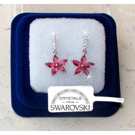 SW7 Hanging flowers Earrings woman pl. 18K white gold pink Swarovski crystals