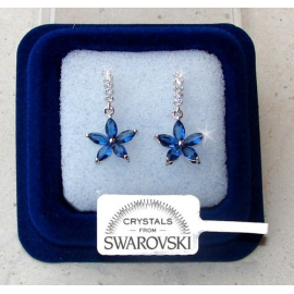 Hanging flowers Earrings woman pl. 18K white gold Swarovski crystals SW7 / 3 blue