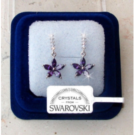 Hanging flowers Earrings woman pl. 18K white gold Swarovski SW7 / 3 violet Swarovski crystals