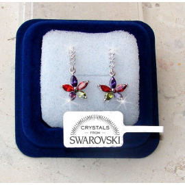 SW7 Hanging flowers Earrings woman pl. 18K white gold Swarovski crystals m/color