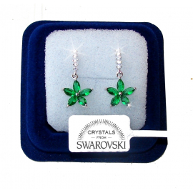 SW7 Hanging flowers Earrings woman pl. 18K white gold green Swarovski crystals