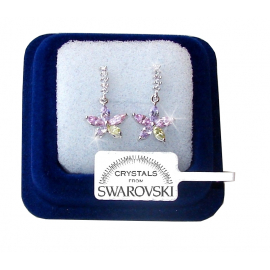 SW7 Hanging flowers Earrings woman pl. 18K white gold Swarovski crystals light m/color