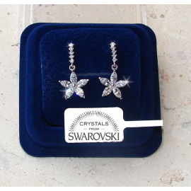 SW7 Hanging flowers Earrings woman pl. 18K white gold Swarovski crystals