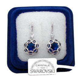 F / SW3 Hanging flowers Earrings woman pl. 18K white gold blue swarovski crystals