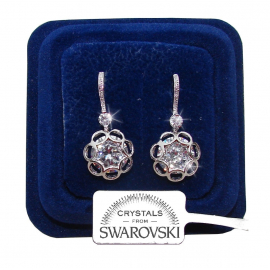 FOSW3 Hanging flowers Earrings woman pl. 18K white gold Swarovski crystals