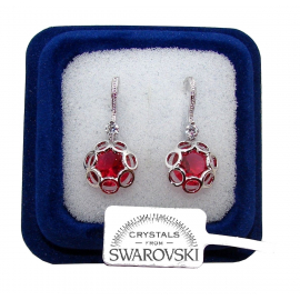 FSW3 Pendant flowers Earrings woman pl. 18K white gold Swarovski red crystals