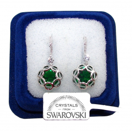 FSW Hanging flowers Earrings woman pl. 18K white gold green swarovski crystals