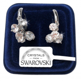 Women's Pendant Earrings Women pl. 18K white gold with SW / 21 Swarovski crystals
