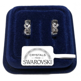 Women's Infinite Circle Earrings pl. 18K White gold Swarovski SW / 24 crystals