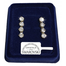 Tennis 4Rotond Women's earrings pl. 18K white gold genuine swarovski crystals SW8 / 0