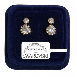 Double Point Earrings woman pl. 18K white gold genuine swarovski crystals SW8 / 01
