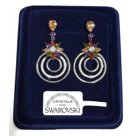Flowers Circles Women's Earrings pl. 18K White gold genuine swarovski crystals SW8 / 03