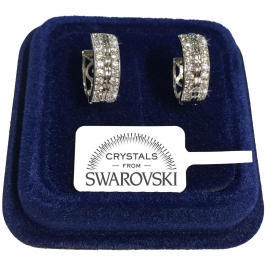 Circles 16 Earrings man woman pl. 18K white gold swarovski crystals true SW8 / 10