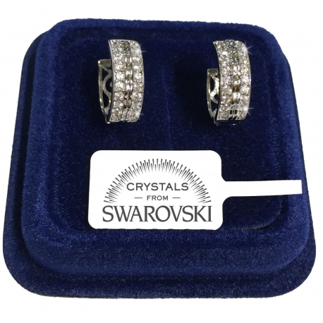 Rims 16 Earrings man woman white gold pl. 18K real swarovski crystals SW8 / 08