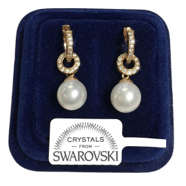 Pearl Pearls Women's earrings pl. 18K yellow gold SWPO69 swarovski crystals
