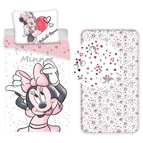 Minnie Paris 3 Pieces Set Single Bed Duvet Cover, Pillowcase, Sheets c / Corners