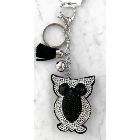 Small Owl Keyring, Soft Pendant for Bag or Backpack Black Silver