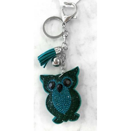 Small Owl Keyring, Soft Pendant for Bag or Backpack Green Blue