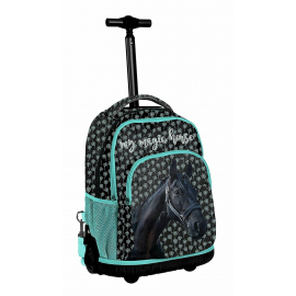 Cat Be Happy Backpack with Wheels Trolley Girl Middle School, Elementary