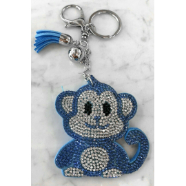Monkey Monkey Keychain, Soft Pendant for Bag Women's Backpack light blue
