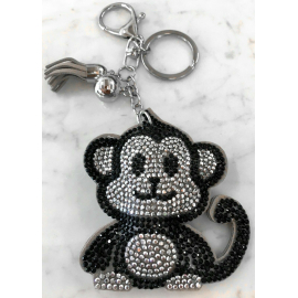 Monkey Monkey Keychain, Soft Pendant for Bag Women's Backpack grey black