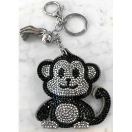 Scimmia Monkey Portachiavi,Morbido Ciondolo per Borsa Zaino da donna Grigio Nero