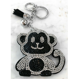 Monkey Monkey Keychain, Soft Pendant for Bag Women's Backpack silver black